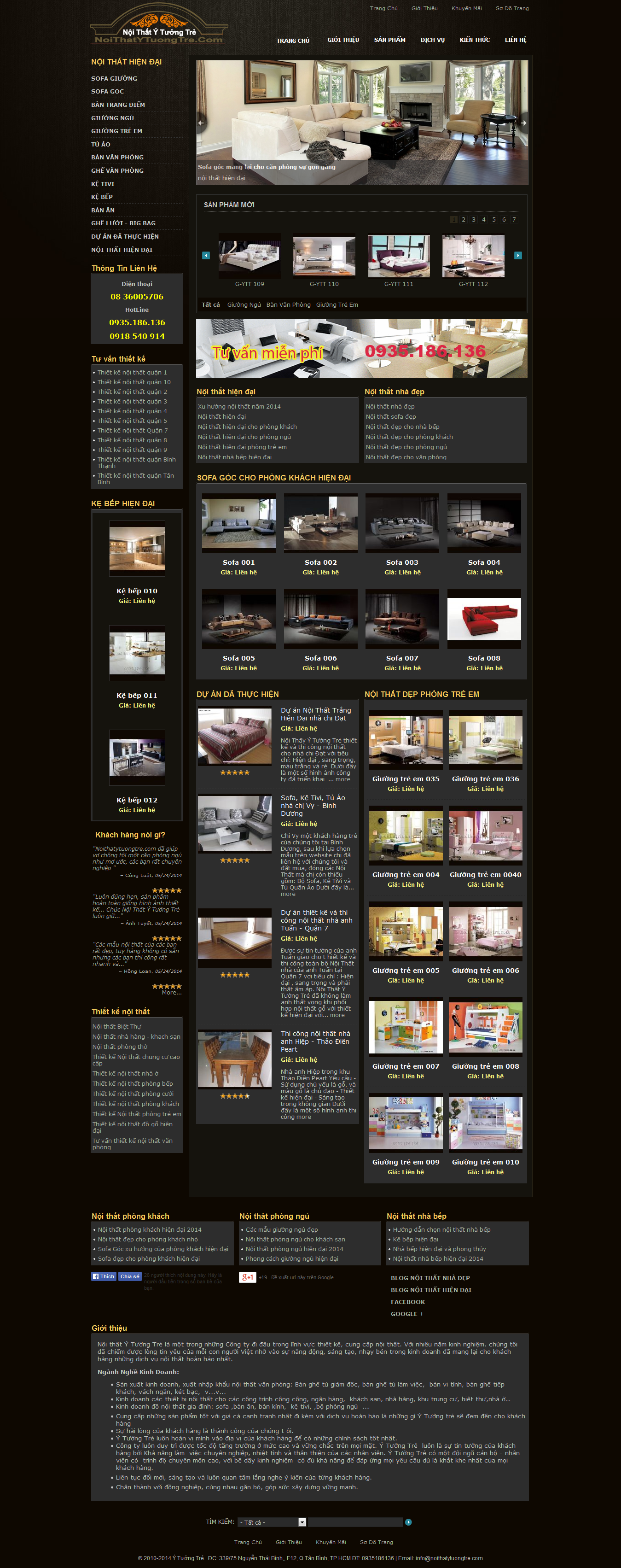 Mẫu website thi công nội thất - xây dựng 10230