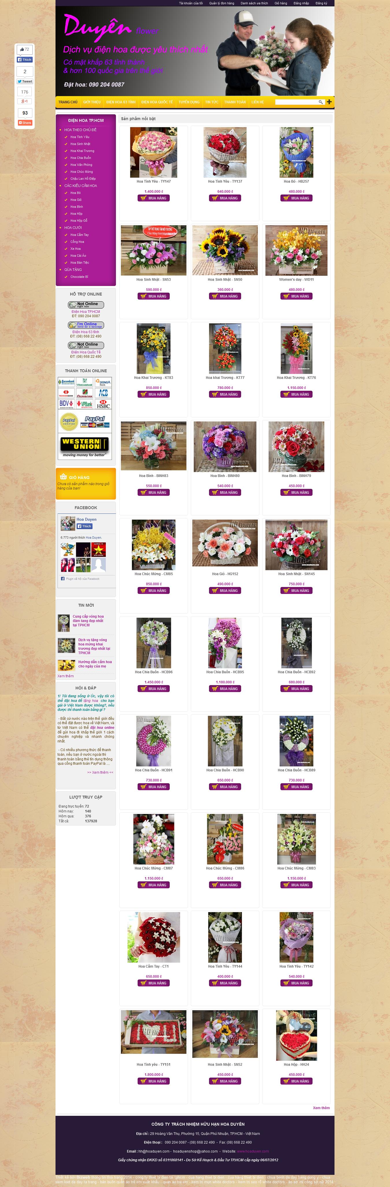 Mẫu website bán hoa tươi 10117