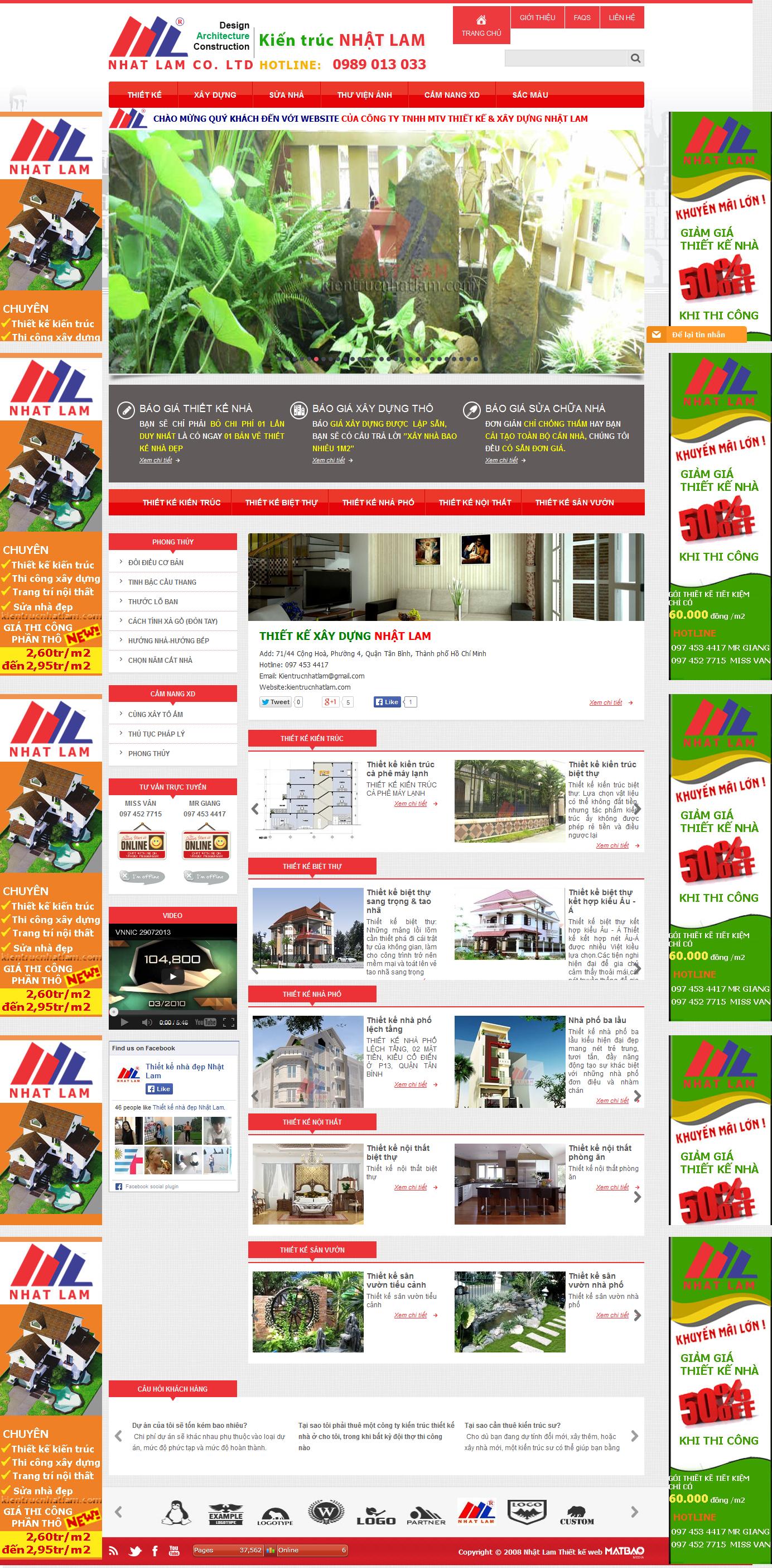 Mẫu website thiết kế nội thất & xây dựng 0156