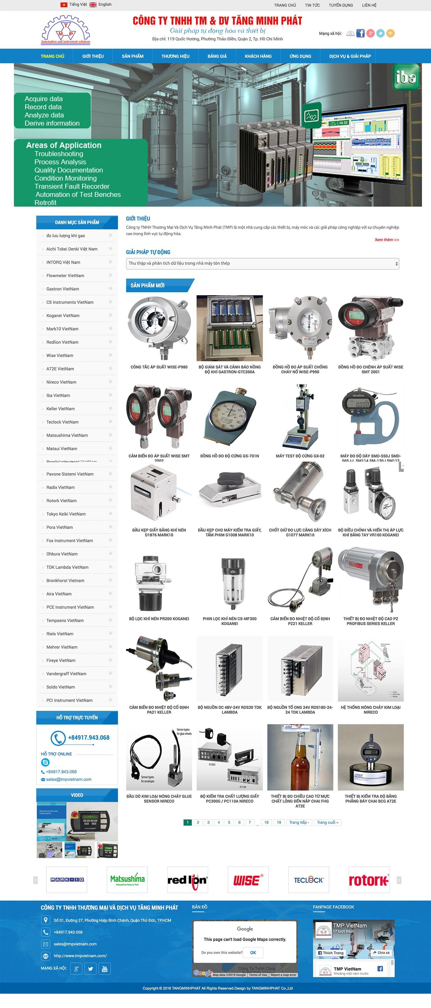 Mẫu website thiết bị,giải pháp tự động hoá 13510